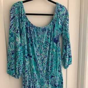 Lilly Pulitzer Lana Off Shoulder Romper Tortuga L